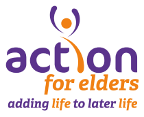 Action for Elders logo, adding life to later life